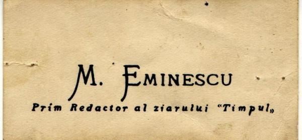 762-Carte de vizita Mihai Eminescu(originala)