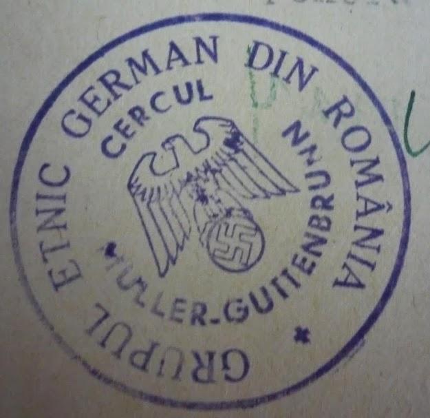 Stampila Grupului Etnic German nazist de la care se revednica Klaus  Iohannis – Buciumul