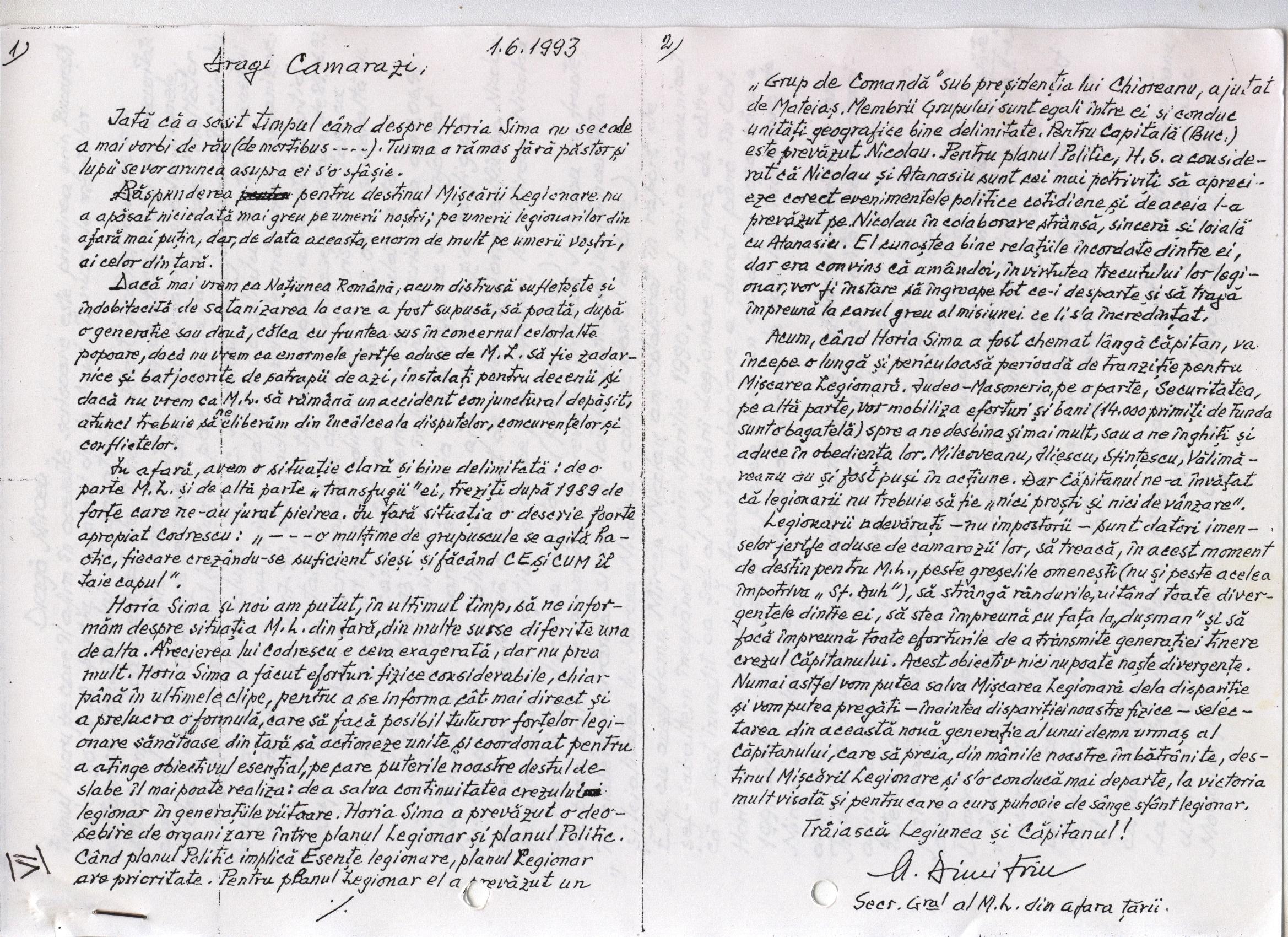 Scrisoare catre camarazi M.Dimitriu 1993