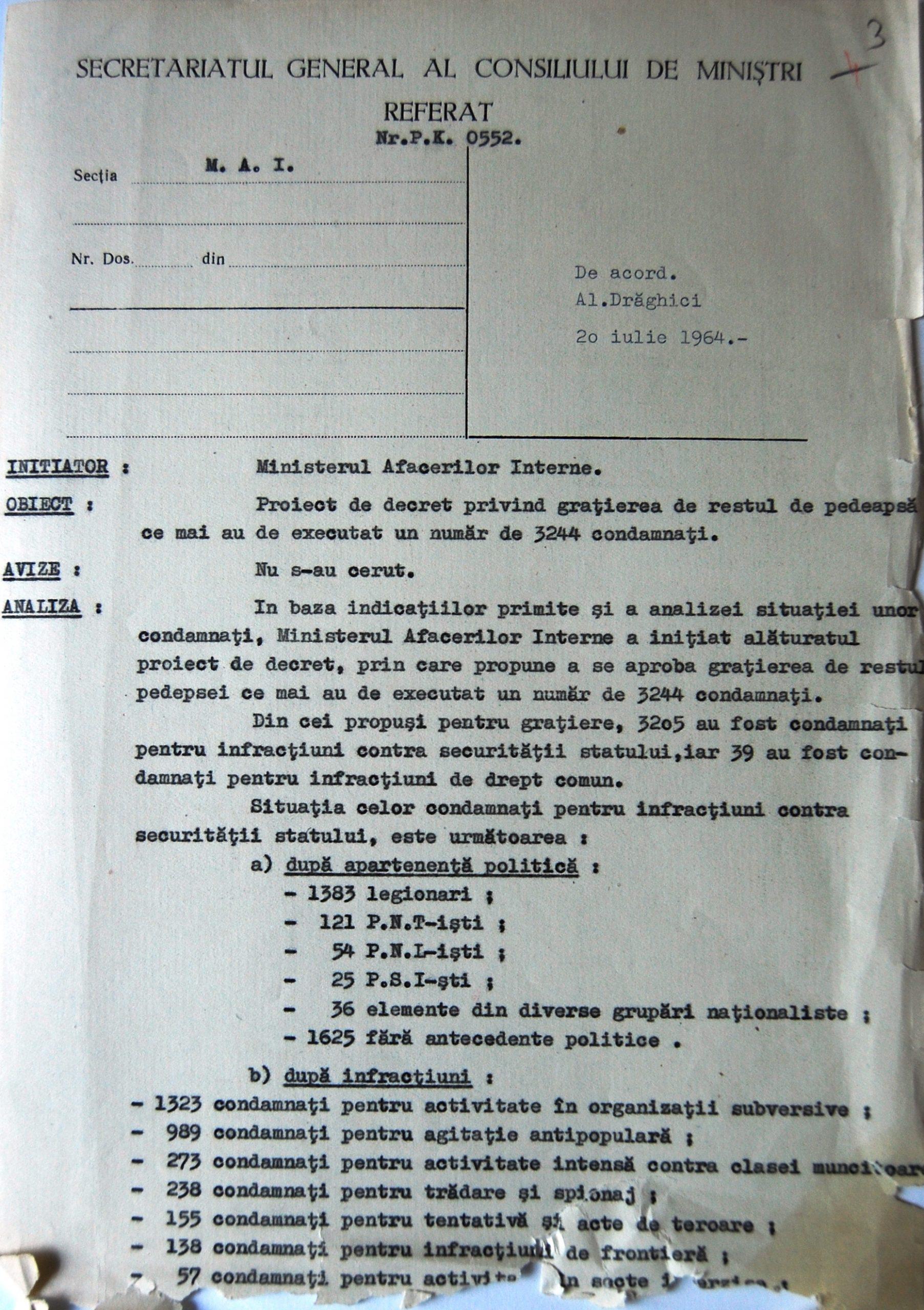 Decret epntru eliberarea deținuților politici din 1964. Sursa: Arhivele Naționale. Cercetător: Victor Dogaru